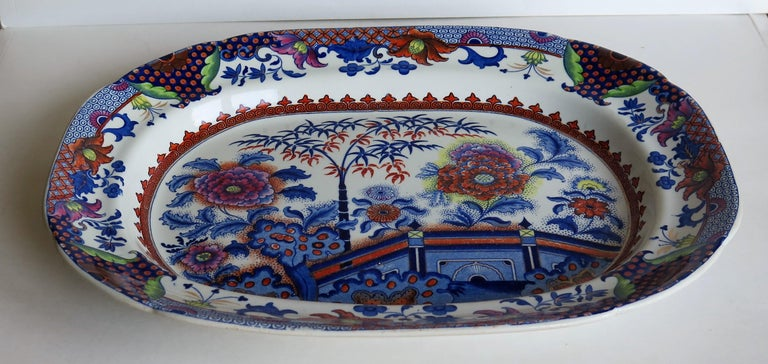 Fine Early Davenport Ironstone Platter, Bamboo and Peony Pattern, circa 1810 For Sale 1