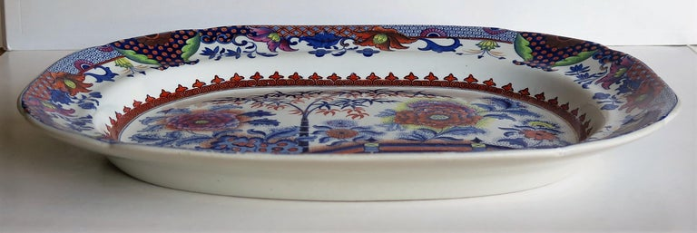 Fine Early Davenport Ironstone Platter, Bamboo and Peony Pattern, circa 1810 For Sale 2