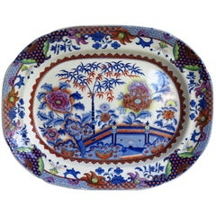 Fine Early Davenport Ironstone Platter, Bamboo and Peony Pattern, circa 1810