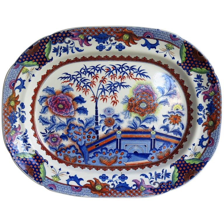 Fine Early Davenport Ironstone Platter, Bamboo and Peony Pattern, circa 1810 For Sale