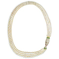 Fine Early Victorian Three-Row Natural Pearl Necklace