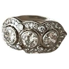 Fine Edwardian Three Stone Ring Platinum Diamond Ring