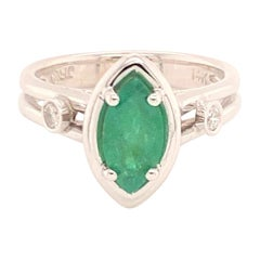 Fine Emerald and Diamond 14 Karat Custom Ring Certified