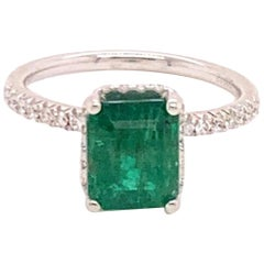 Diamond Emerald Ring 18k Gold 2.81 Tcw Women Certified