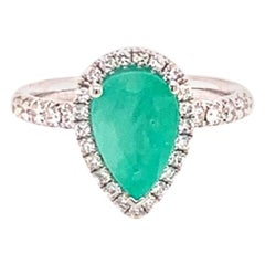 Diamond Emerald Ring 18k Gold 3.02 TCW Women Certified