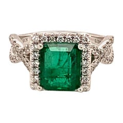 Diamond Emerald Ring 18k Gold 3.07 TCW Women Certified
