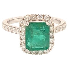 Diamond Emerald Ring 18k Gold 3.21 TCW Women Certified
