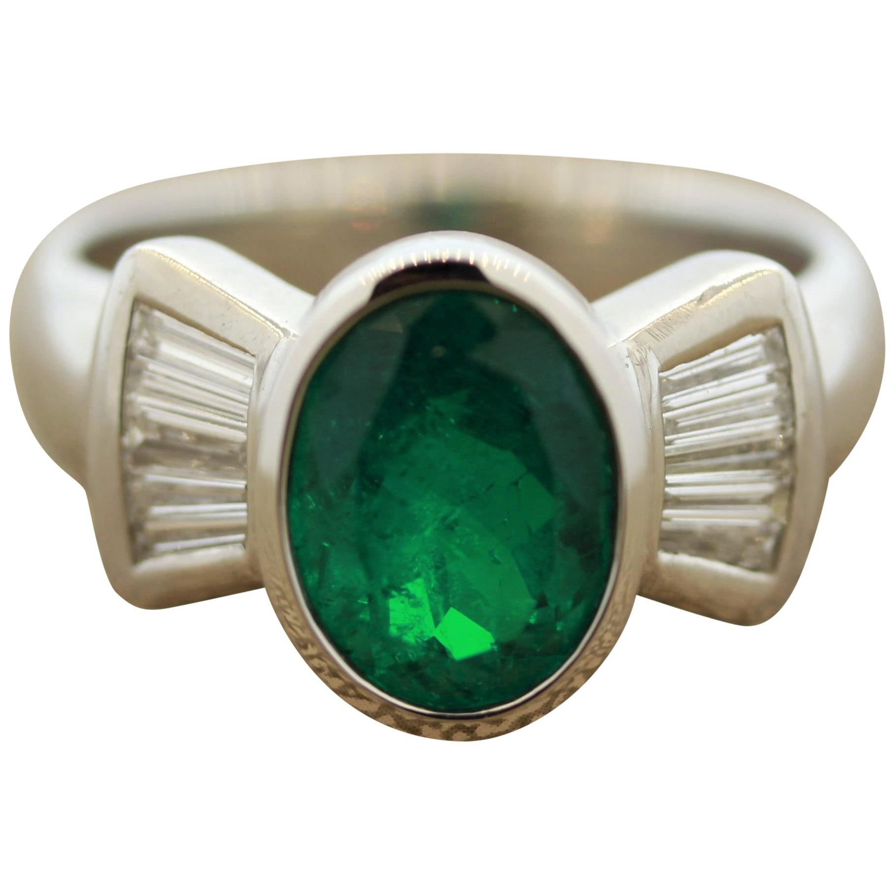 Fine Emerald Diamond Gold Ring