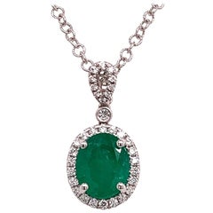 Diamond Emerald Necklace 18k Gold 3.70 TCW Italy Certified
