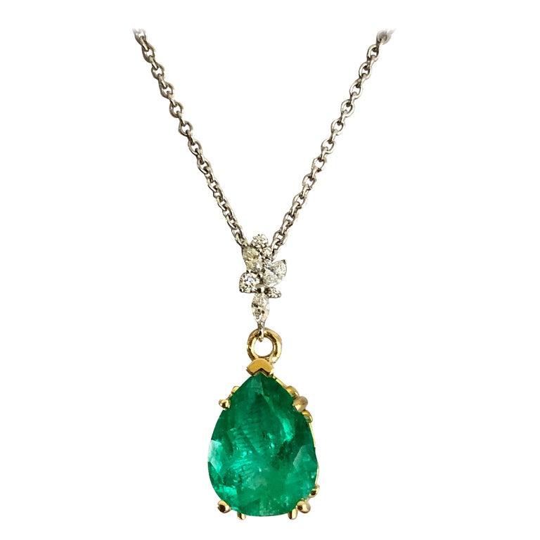 Fine Emerald Diamond Pendant Drop Necklace in 18 Karat and Platinum For Sale