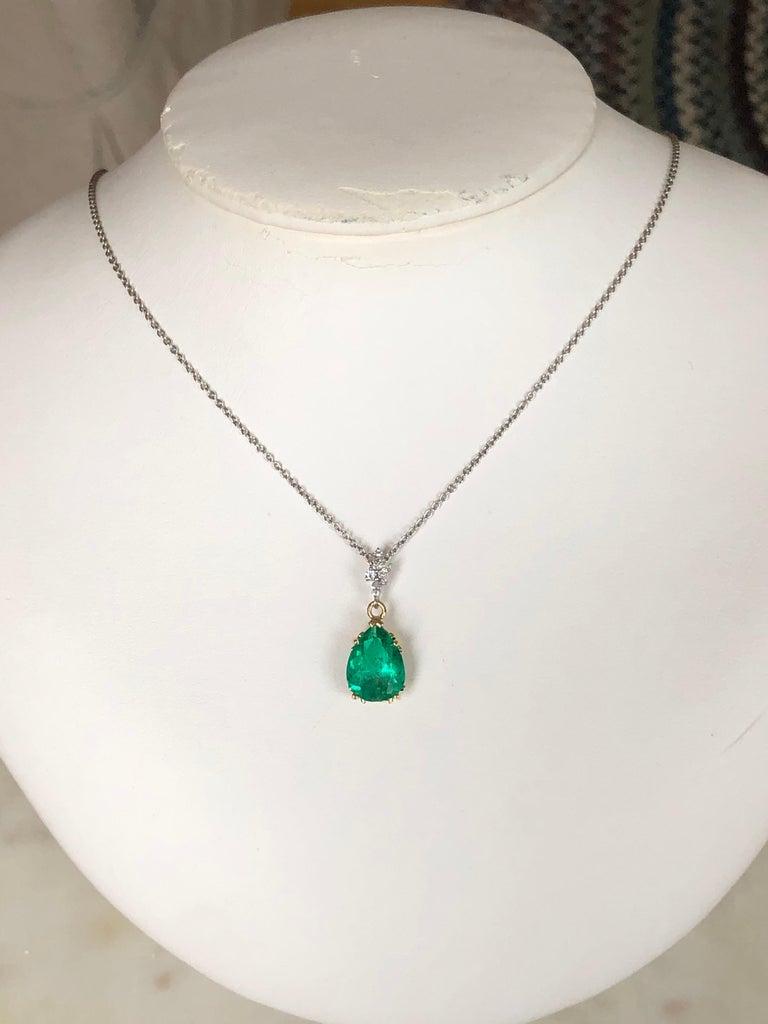 Pear Cut Fine Emerald Diamond Pendant Drop Necklace in 18 Karat and Platinum For Sale