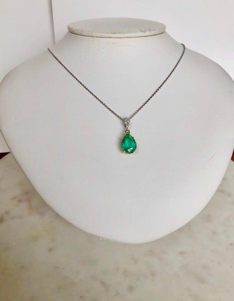 Fine Emerald Diamond Pendant Drop Necklace in 18 Karat and Platinum For Sale 2