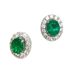Fine Emerald and Diamond Stud Earrings 18 Karat 1.62 Carat Certified