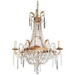 Fine Empire Sac a Pearl Chandelier Crystal Lustre Ceiling Lamp Antique White