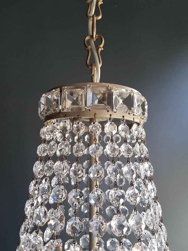 Hand-Knotted Fine Empire Waterfall Chandelier Crystal Sac a Pearl Lamp Lustre Silver Art Deco For Sale