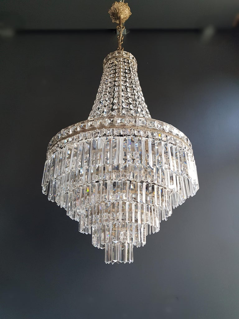 Mid-20th Century Fine Empire Waterfall Chandelier Crystal Sac a Pearl Lamp Lustre Silver Art Deco For Sale