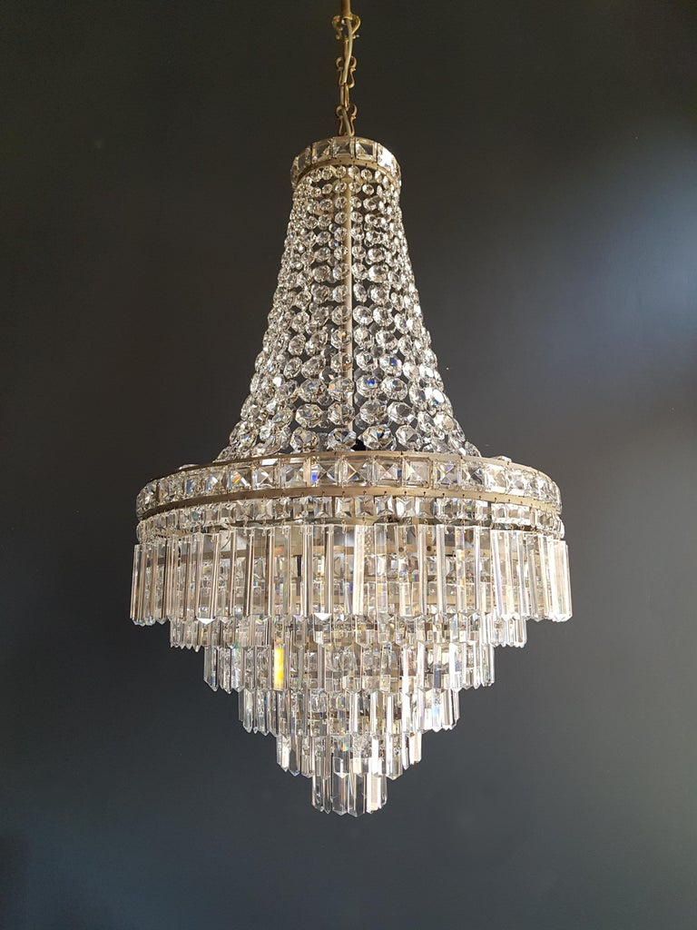 Fine Empire Waterfall Chandelier Crystal Sac a Pearl Lamp Lustre Silver Art Deco For Sale 1