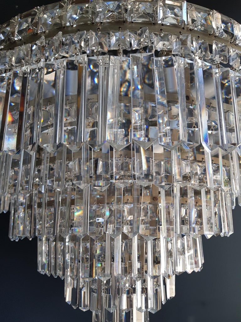 Fine Empire Waterfall Chandelier Crystal Sac a Pearl Lamp Lustre Silver Art Deco For Sale 2