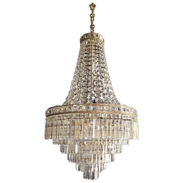 Fine Empire Waterfall Chandelier Crystal Sac a Pearl Lamp Lustre Silver Art Deco For Sale