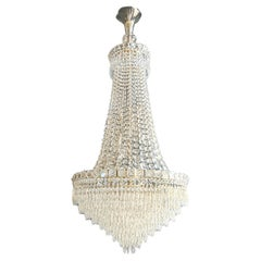 Fine Empire Waterfall Chandelier Crystal Sac a Pearl Lamp Lustre Silver Art Deco