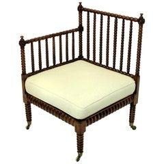 Fine English Bobbin Corner Chair in Elm