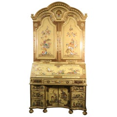 Fine English Canary Yellow Chinoiserie Secretary Desk, circa 1930