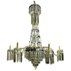 Fine English Cut-Glass Tent and Waterfall Chandelier with Blue Glass