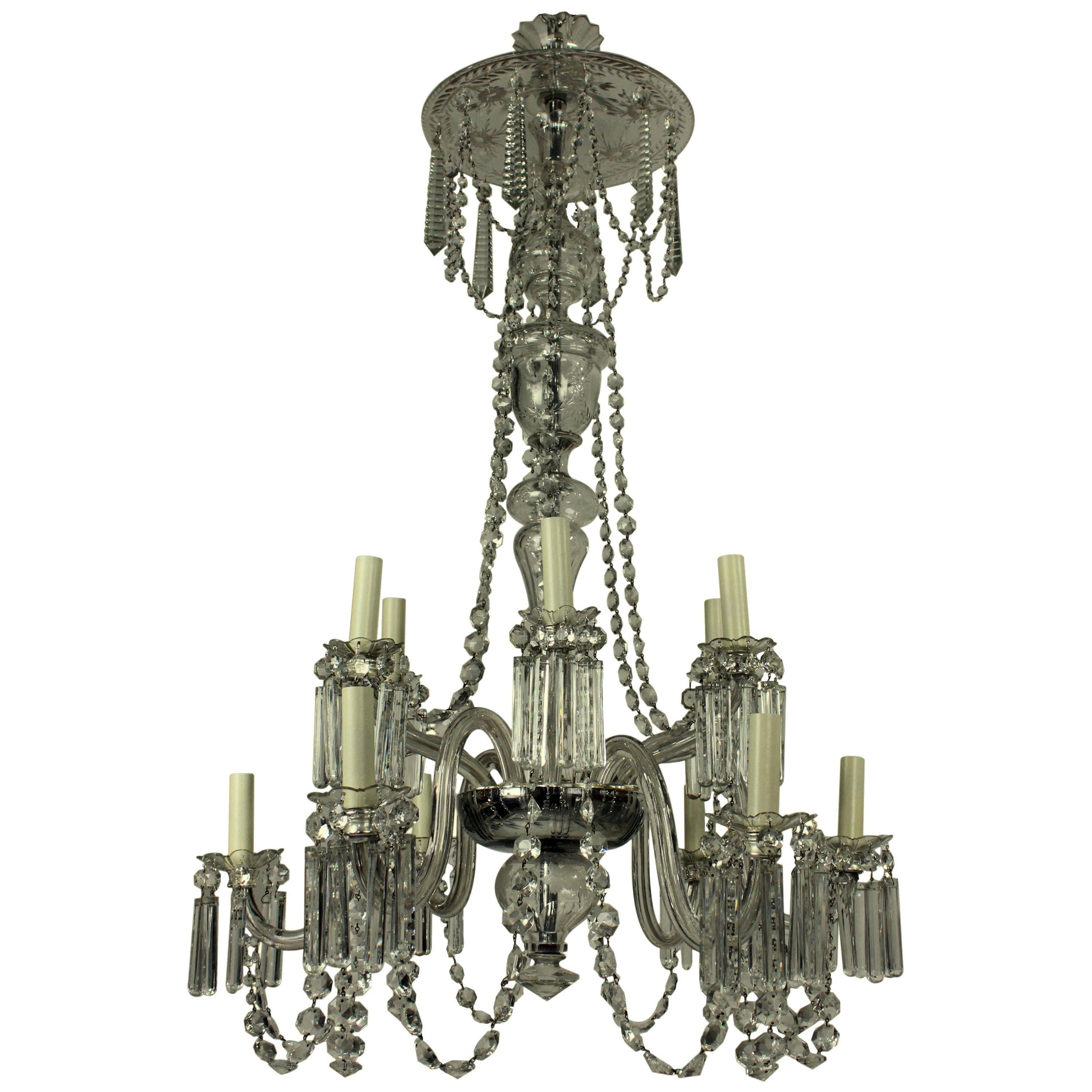 Fine English Edwardian Cut-Glass Chandelier