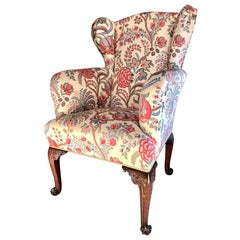 Fine English George II Period Mahogany Wing Armchair