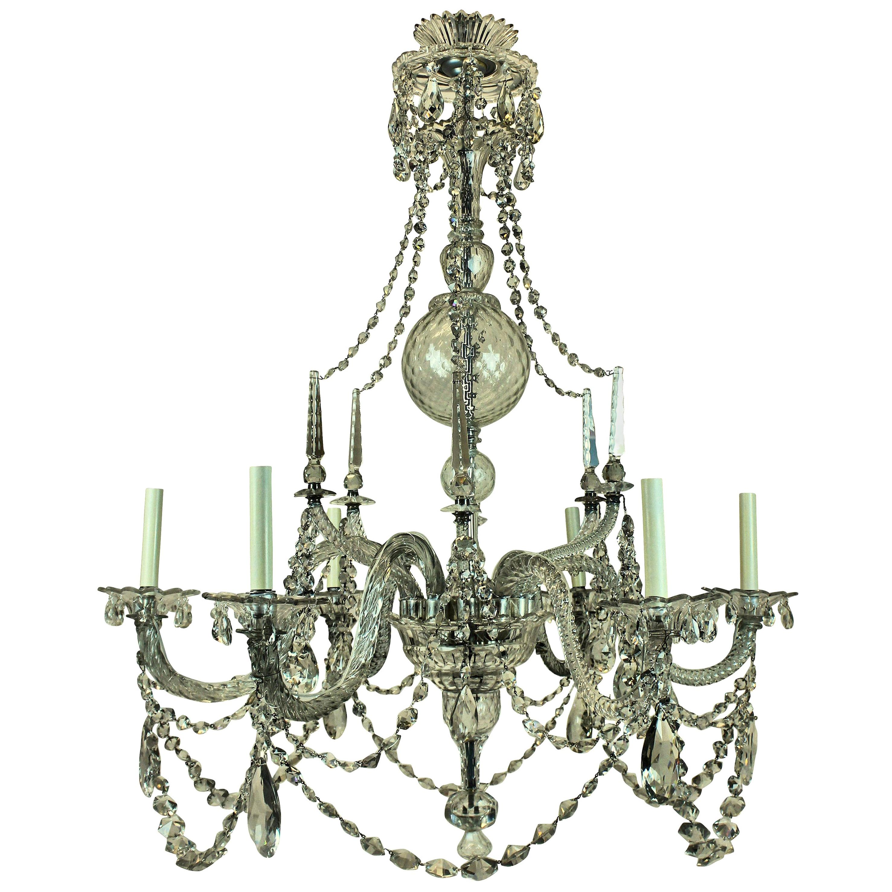 Fine English George III Cut-Glass Chandelier