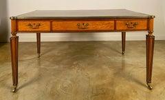 Fine English George III Satinwood & Mahogany Inlaid  Partner's Writing Desk