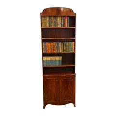 Fine English George V Mahogany Open Bookcase Bench Made, 1920s