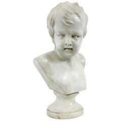 Fine English Regency Carrara Marble Bust of a Young Boy