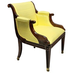 Fine English Regency Faux Rosewood Library Chair