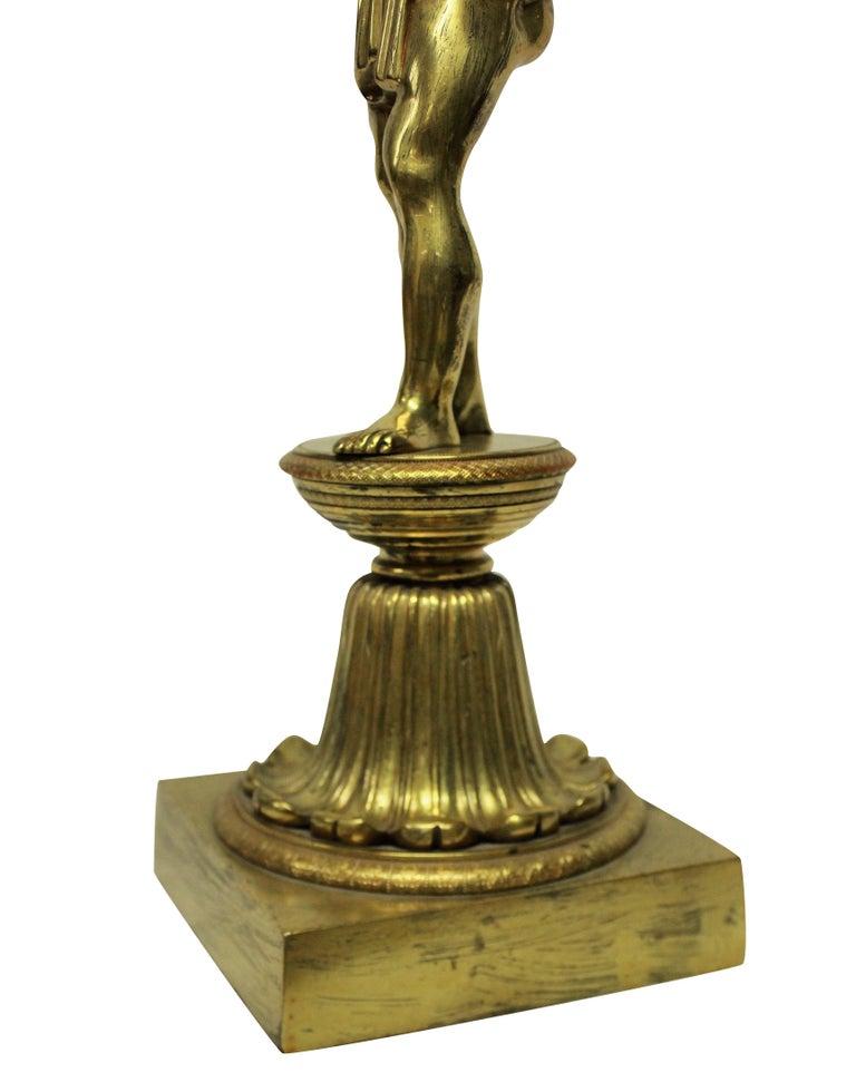 Fine English Regency Gilt Bronze Lamp Depicting Atlas In Good Condition In London, GB