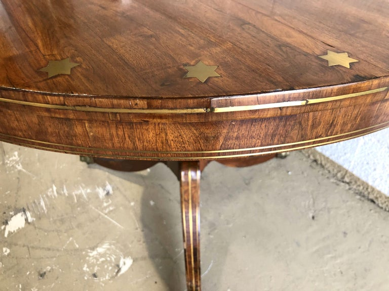 Fine English Regency Rosewood and Brass Inlaid Center Table For Sale 5