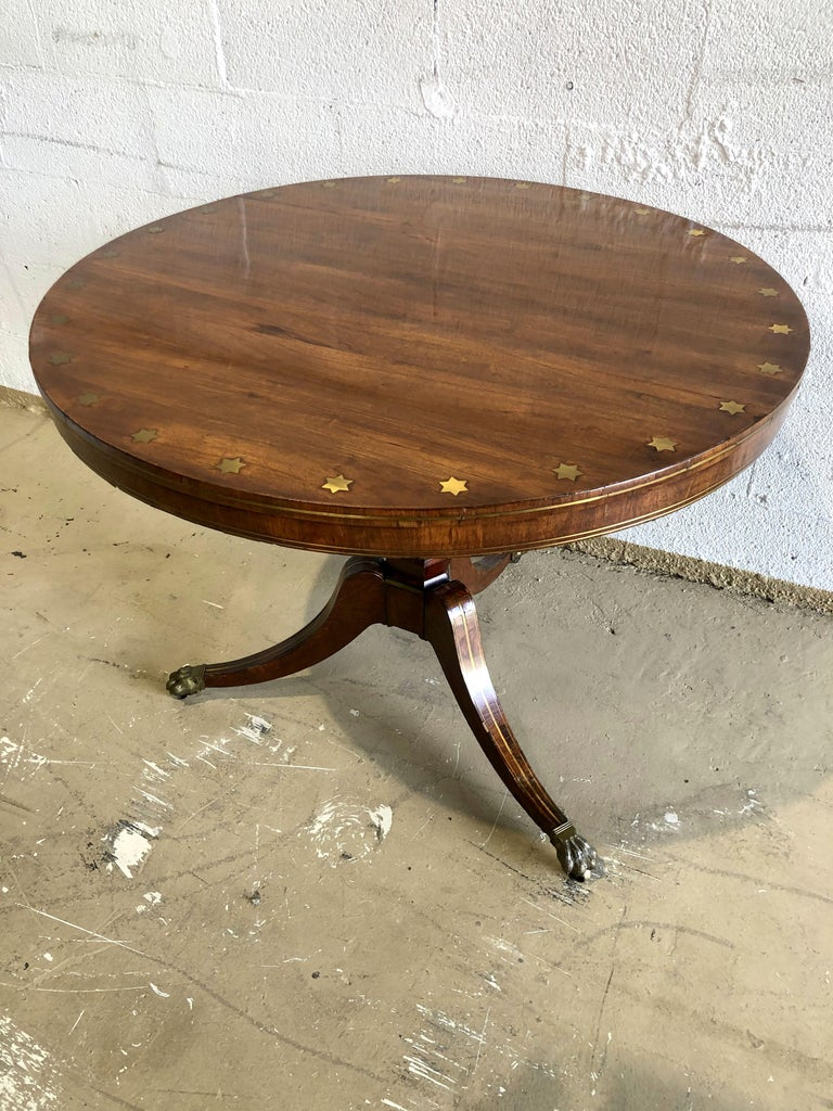 Fine English Regency Rosewood and Brass Inlaid Center Table For Sale 6