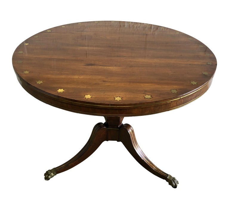 Fine English Regency Rosewood and Brass Inlaid Center Table For Sale