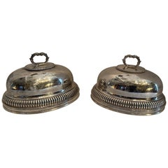 Fine English Silver Plated Pair Meat Food Dome Cover Sheffield Serving Cloche