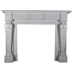 Fine European Antique Fireplace Surround in Carrara Marble