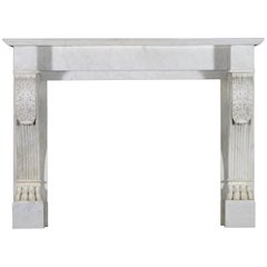Fine European Decorative Fireplace Mantle in White Carrara and Statuary Marble