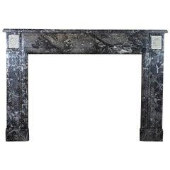 Fine European Original Antique Fireplace Surround in Grey Marble