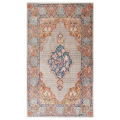 Fine Floral Medallion Vintage Persian Silk Qum Rug. 3 ft 3 in x 5 ft 7 in