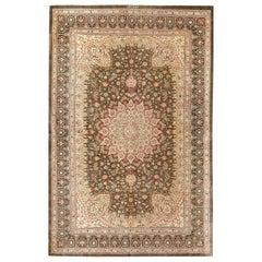 Fine Floral Silk Vintage Persian Qum Rug. 4 ft 4 in x 6 ft 6 in