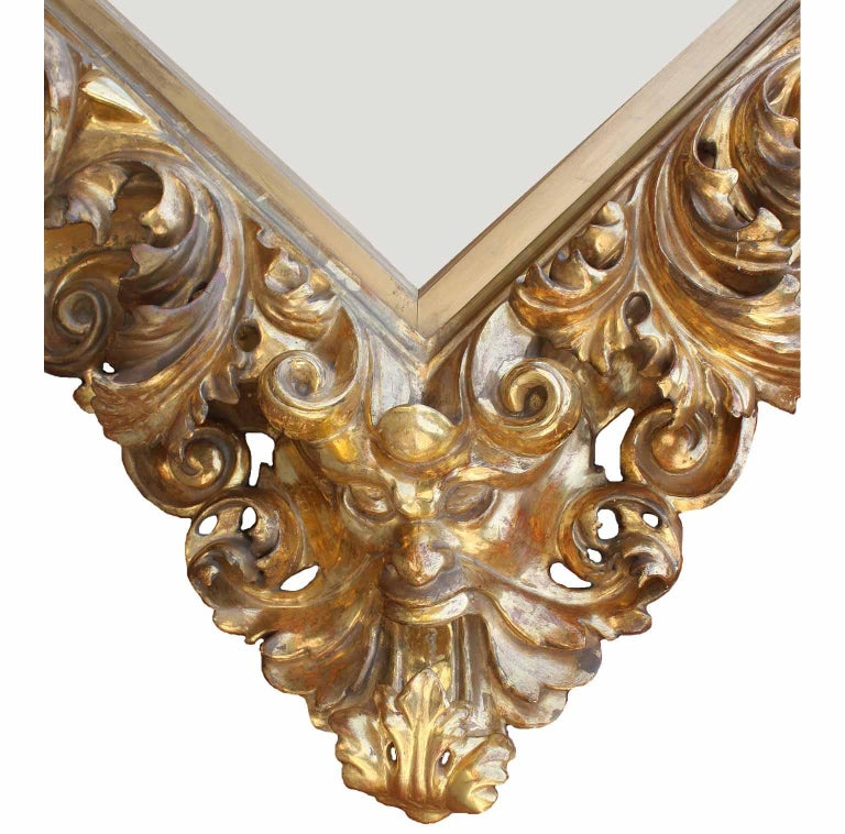 Italian Fine Florentine 19th Century Baroque Style Giltwood Carved Figural Mirror Frame For Sale