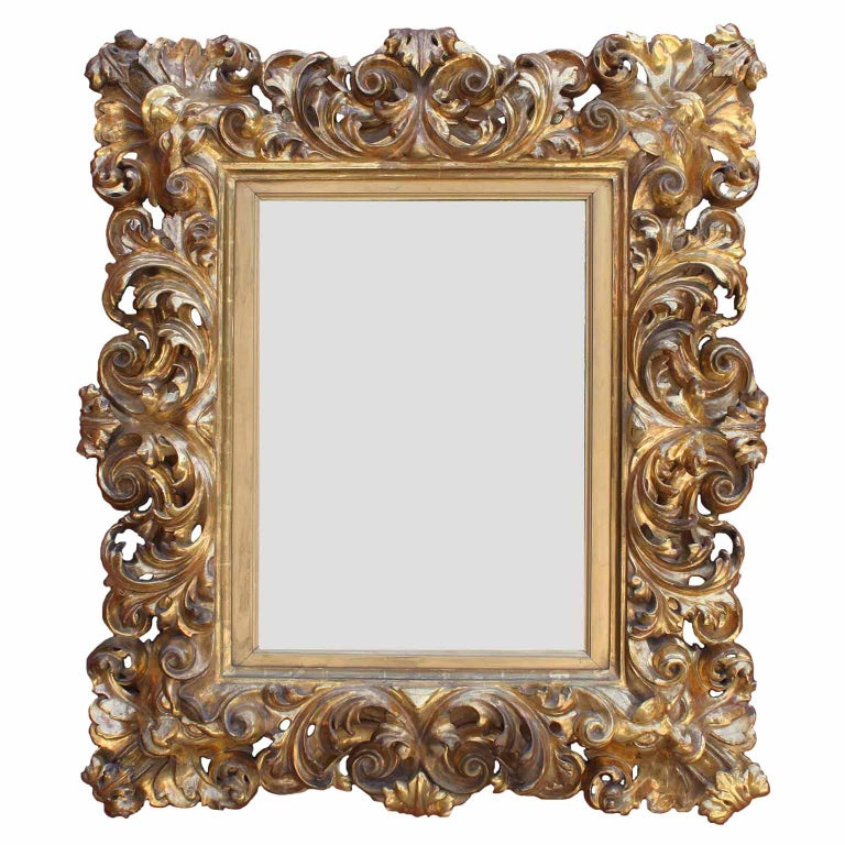 Hand-Carved Fine Florentine 19th Century Baroque Style Giltwood Carved Figural Mirror Frame For Sale