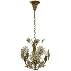 Feiner Blume Kronleuchter Palwa, Vergoldetes Messing und Kristall, Deutschland, um 1960er
