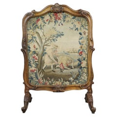 Fine French 18th Century Carved Walnut Tapestry Fire Screen