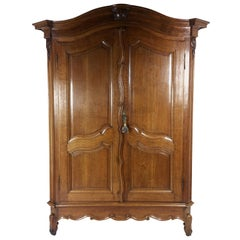 Fine French 18th Century Carved Oak 2-Door Large Armoire