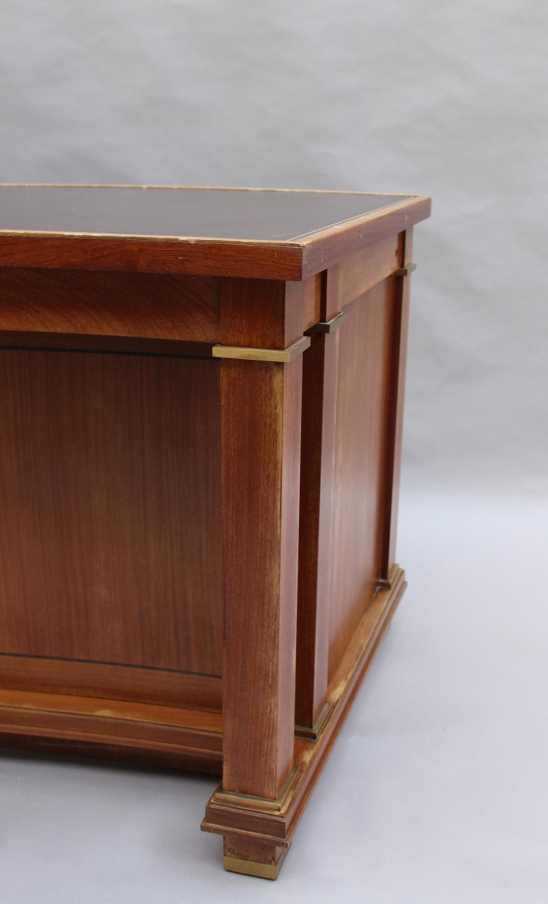 Fine French 1950s Mahogany Curved Desk by Jacques Adnet '2 Available' For Sale 4